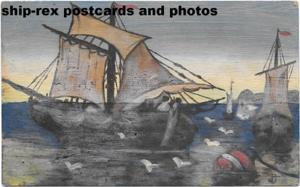 Merchant sailing vessel, hand painted postcard, signed